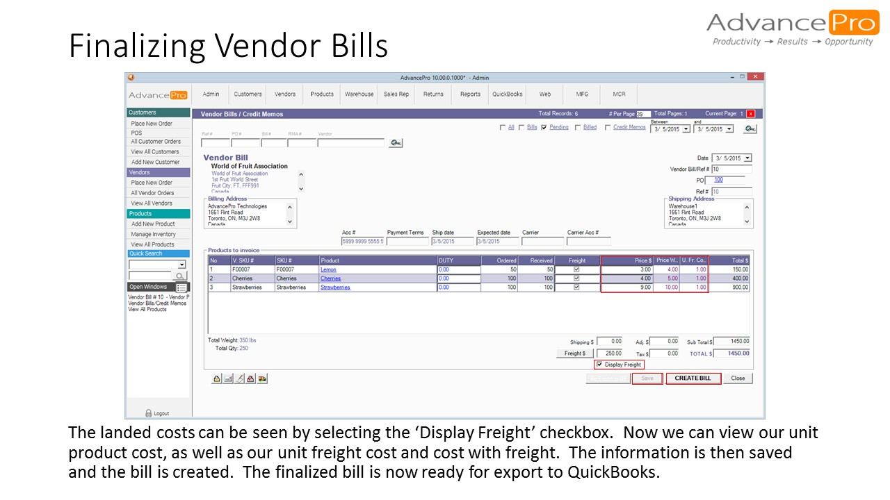 Finalizing Vendor Bills