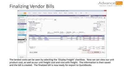 Finalizing Vendor Bills