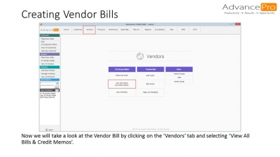 Creating Vendor Bills