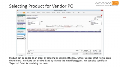 Selecting Product for Vendor PO